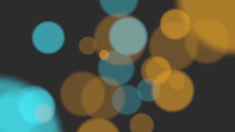Animation fly abstract yellow and blue bokeh and particles on shiny background Animation