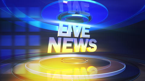 Animation text Live News and news intro graphic with lines and circular shapes in studio, abstract Animation