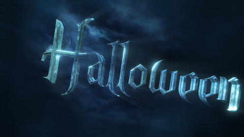 Animation text Halloween and mystical animation background with dark moon and clouds, abstract Animation
