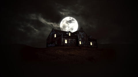 Mystical horror background with the house and moon. Happy holiday abstract backdrop Animation