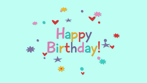 Animated closeup Happy Birthday text with confetti on holiday background Animation