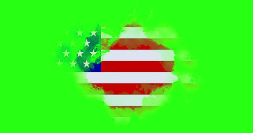 united states of america flag on white brick wall background, animation painted with watercolor Live Action