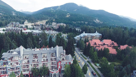 Aerial view of Whistler skyline and mountains in summer season, British Columbia Live Action