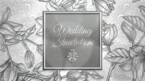 Closeup text Wedding Invitation and vintage frame with flowers motion, wedding background Animation