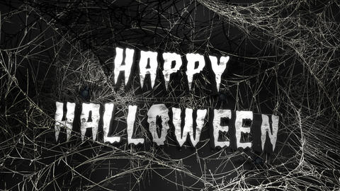 Animation text Happy Halloween and mystical horror background with dark spiderweb, abstract backdrop Animation