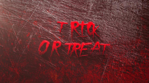 Animation text Trick or Treat on mystical horror background with dark blood, abstract backdrop Animation