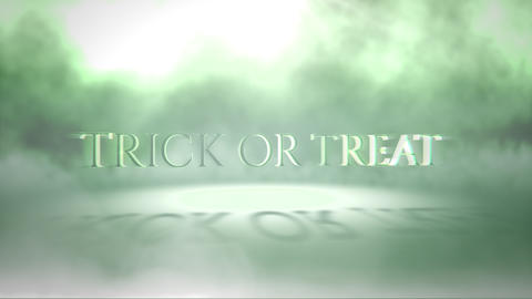 Animation text Trick or Treat on mystical horror background with green fog, abstract backdrop Animation