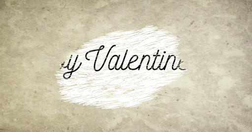 happy valentine day word shape on grunge old vintage paper background with red hearts shape, holiday Live Action