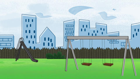 Cartoon animation background with buildings and park of city, abstract backdrop Animation