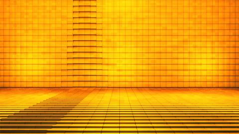 Broadcast Pulsating Hi-Tech Cubes Stage, Golden, Fashion, 3D, Loopable, HD 애니메이션