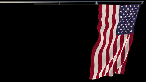 USA flag, waving on transparent background, prores footage with alpha channel Live Action