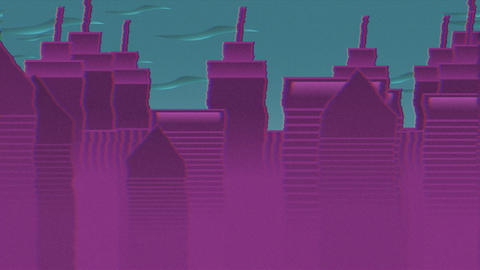 Abstract cityscape backdrop, cartoon animation background with motion clouds and buildings Animation