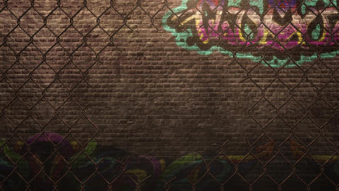 Panorama of grunge wall of building on street in summer day Animation