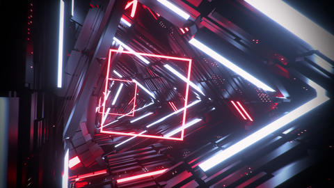 3D Sci-Fi Triangles & Squares Speed Tunnel VJ Loop Motion Background Animation