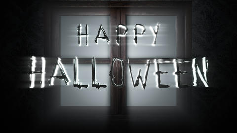 Animation text Happy Halloween and mystical horror background with closed window, abstract backdrop Animation
