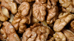 Walnuts rotating top view Live Action