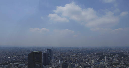 A panoramic cityscape at Shibuya area in Tokyo high angle Live Action