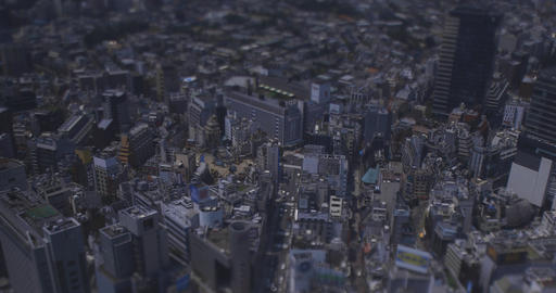 A miniature cityscape at Shibuya area in Tokyo high angle wide shot Live Action