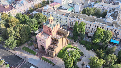 Architecture of Kyiv, Ukraine : Golden Gate. Aerial view Live Action