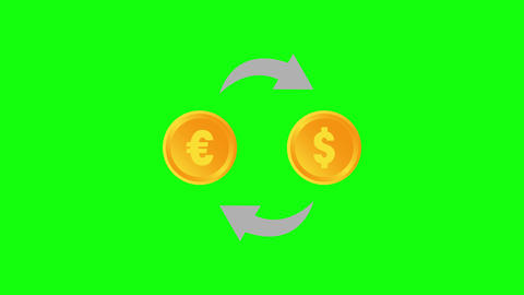 exchange currency euro currency dollar currency exchange icon symbol icon color icon exchange green Animation