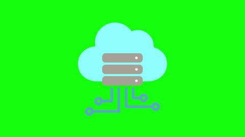 Color cloud icon server icon hosting icon cloud database server database hosting database cloud Animation