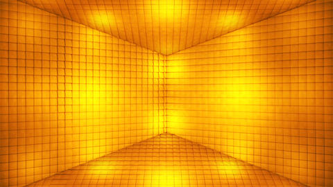 Broadcast Pulsating Hi-Tech Cubes Room Stage, Golden, Events, 3D, Loopable, HD CG動画