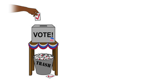 USA Election Rigging Animation on White Off Center Animation