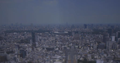 A miniature cityscape at Yotsuya area in Tokyo high angle wide shot Live Action