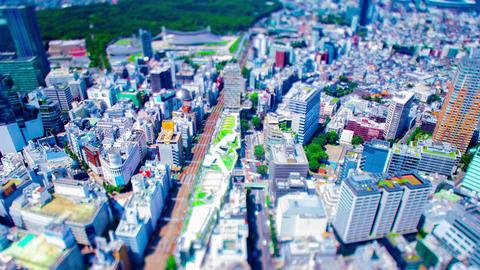 A timelapse of miniature cityscape at Miyashita park in Shibuya Tokyo high angle Live Action