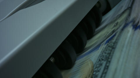 Machine counting money. Bank automatic equipment for counting cash money Live Action