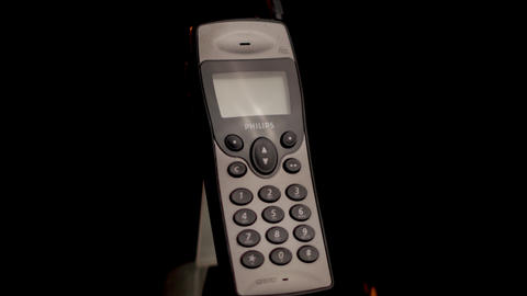 Philips Fizz Vintage Mobile Cell Phone From 1990s, Old GSM Communication Device Live Action