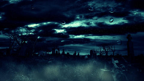 Spooky Halloween foggy graveyard with dark stormy clouds, rains and thunders Animation