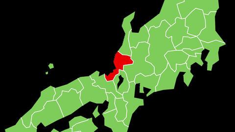 福井県の位置が赤く表示されます。背景はアルファチャンネルです。 CG動画