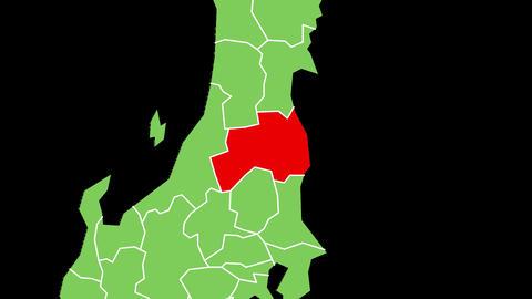 福島県の位置が赤く表示されます。背景はアルファチャンネルです。 CG動画