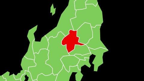 群馬県の位置が赤く表示されます。背景はアルファチャンネルです。 CG動画