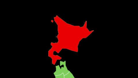 北海道の位置が赤く表示されます。背景はアルファチャンネルです。 CG動画