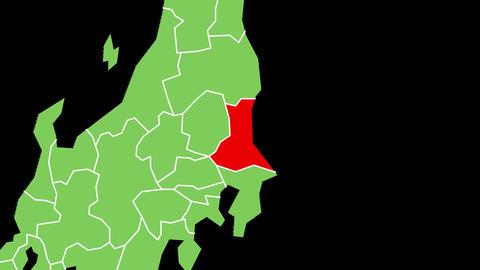 茨城県の位置が赤く表示されます。背景はアルファチャンネルです。 CG動画