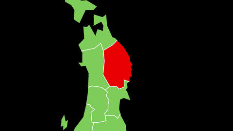 岩手県の位置が赤く表示されます。背景はアルファチャンネルです。 CG動画