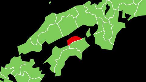 香川県の位置が赤く表示されます。背景はアルファチャンネルです。 CG動画