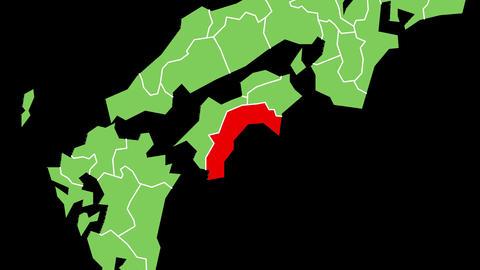 高知県の位置が赤く表示されます。背景はアルファチャンネルです。 CG動画