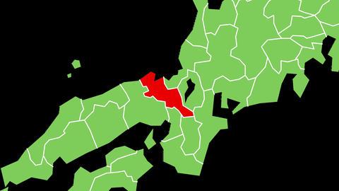 京都府の位置が赤く表示されます。背景はアルファチャンネルです。 CG動画