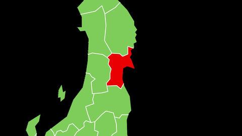 宮城県の位置が赤く表示されます。背景はアルファチャンネルです。 CG動画