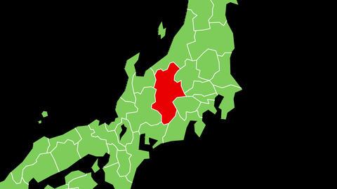長野県の位置が赤く表示されます。背景はアルファチャンネルです。 CG動画