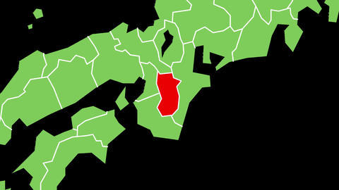 奈良県の位置が赤く表示されます。背景はアルファチャンネルです。 CG動画