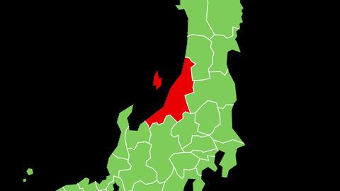 新潟県の位置が赤く表示されます。背景はアルファチャンネルです。 CG動画