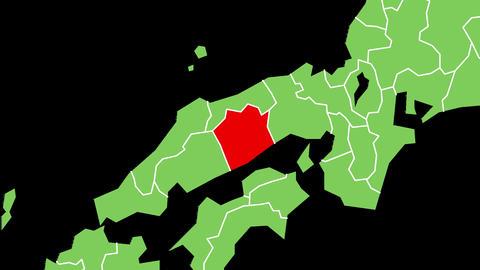 岡山県の位置が赤く表示されます。背景はアルファチャンネルです。 CG動画
