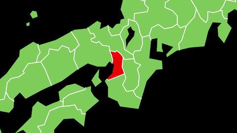 大阪府の位置が赤く表示されます。背景はアルファチャンネルです。 CG動画