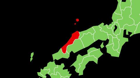 島根県の位置が赤く表示されます。背景はアルファチャンネルです。 CG動画