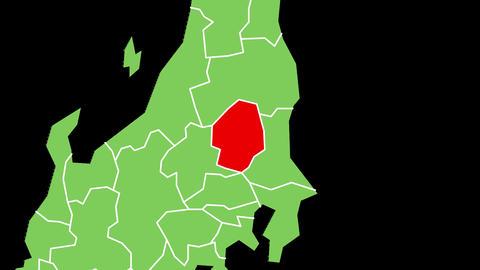 栃木県の位置が赤く表示されます。背景はアルファチャンネルです。 CG動画