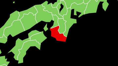 和歌山県の位置が赤く表示されます。背景はアルファチャンネルです。 CG動画